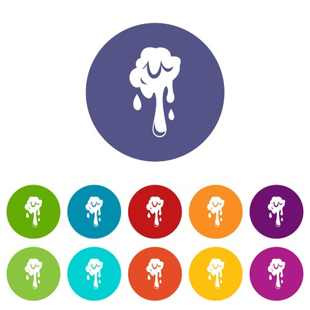 mollusc: Dripping slime icons set flat vector