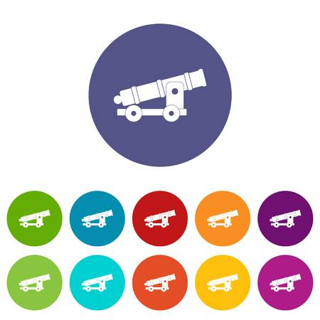 calibre: Cannon icons set flat vector Illustration