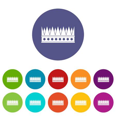 kingly: Kingly crown icons set flat vector