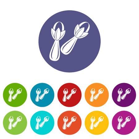 Spice cloves icons set flat vector Illustration