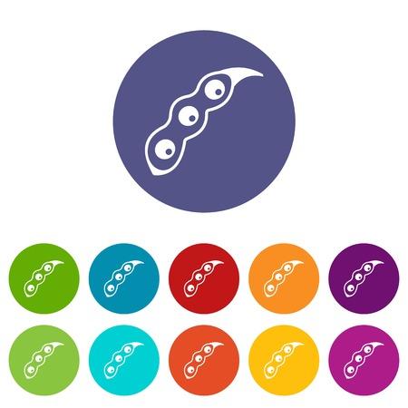 soy bean: Peanut pods icons set flat vector
