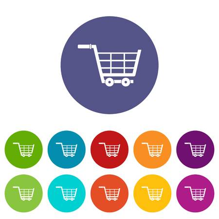 simple store: Online shopping icons set flat vector