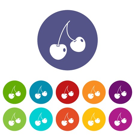 glace: Two cherry berries icons set flat vector