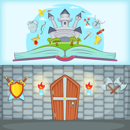 Medieval banner set horizontal, cartoon style