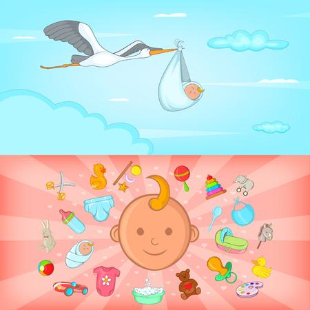 Baby born banner set horizontal, cartoon style Illustration
