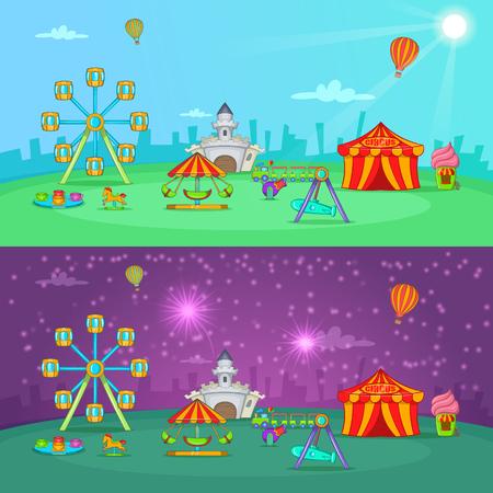 Circus banner set horizontal, cartoon style