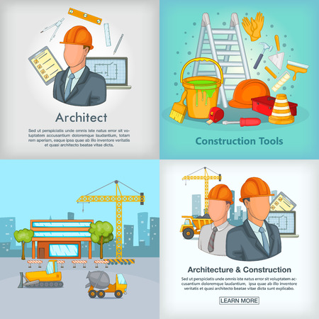 architect drawing: Architecture banner set, cartoon style
