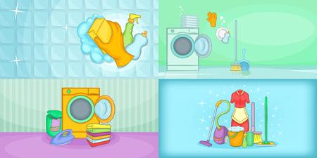 Cleaning banner set horizontal, cartoon style Illustration