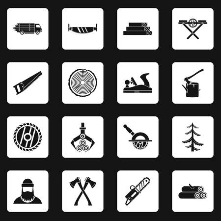 Timber industry icons set squares vector