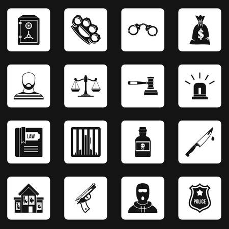 100 Crime Icons Set Simple Style Royalty Free Cliparts Vectors