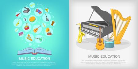 Musical education banner set, cartoon style