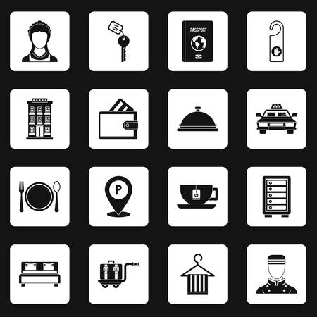 Hotel icons set squares vector 向量圖像