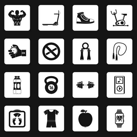 scale icon: Fitness icons set squares vector