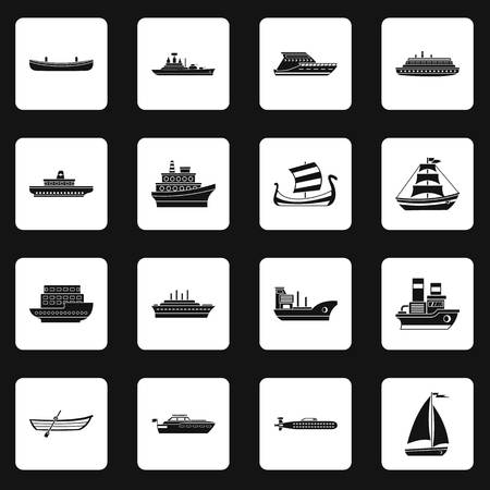 Sea transport icons set squares vector