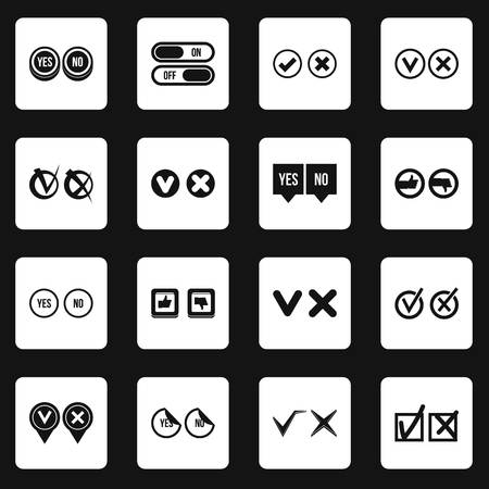 Check mark icons set squares vector Illustration