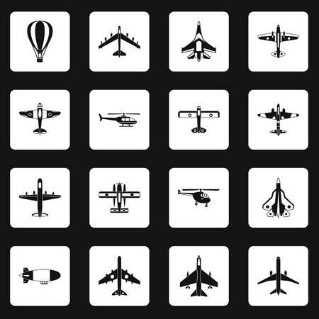 Aviation icons set squares vector Illustration