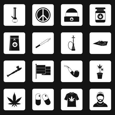 weeds: Rastafarian icons set squares vector