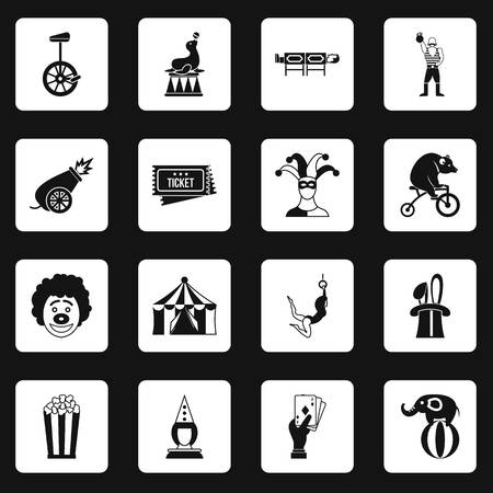 manege: Circus entertainment icons set squares vector