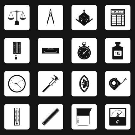 scale icon: Measure precision icons set squares vector