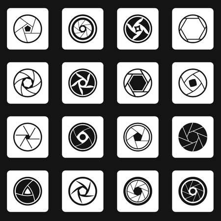 abstract paintings: Photo diaphragm icons set squares vector Illustration