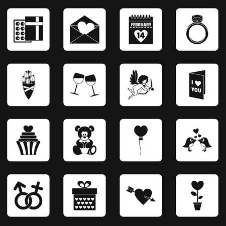 calendar icon: Saint Valentine icons set squares vector Illustration