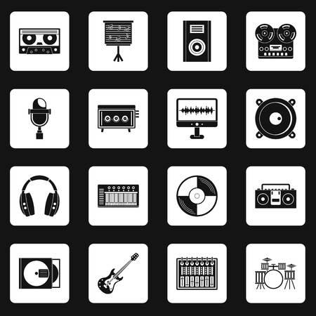 cd recorder: Recording studio items icons set squares vector Illustration