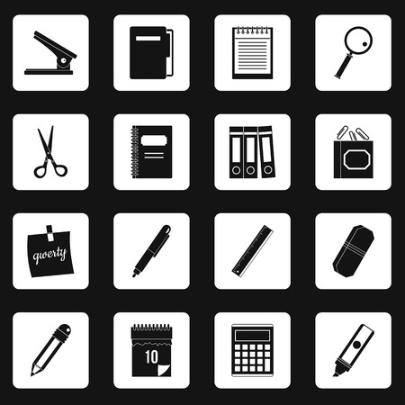 scissors: Stationery symbols icons set squares vector