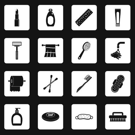 condoms: Hygiene tools icons set squares vector