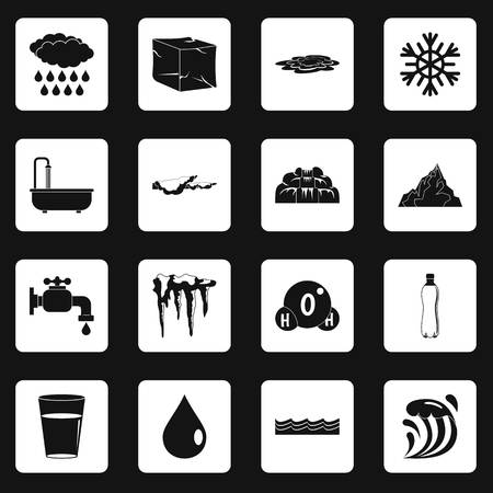 Water icons set squares vector