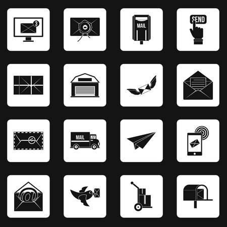 carrier pigeons: Poste service icons set squares vector Illustration