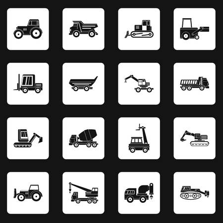 compact track loader: Building vehicles icons set squares vector