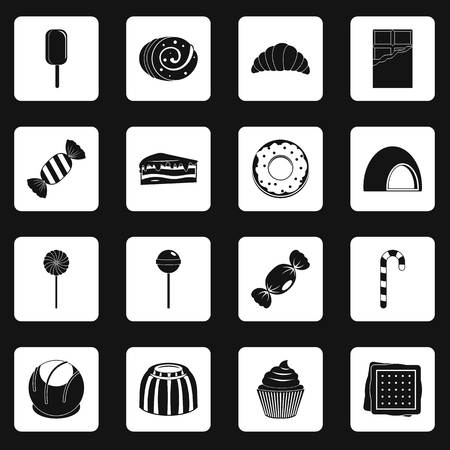 chocolate swirl: Sweets and candies icons set in white squares on black background simple style vector illustration Illustration