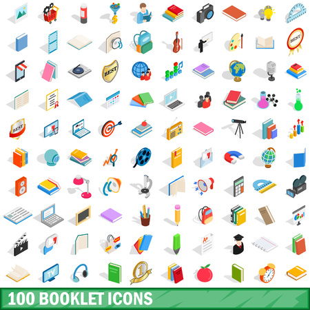 100 booklet icons set in isometric 3d style for any design vector illustration