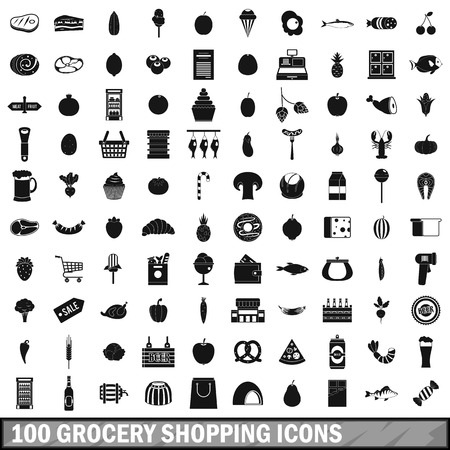 cash money: 100 grocery shopping icons set in simple style for any design vector illustration