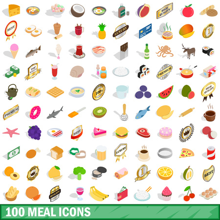 mains: 100 mains icons set in isometric 3d style for any design vector illustration