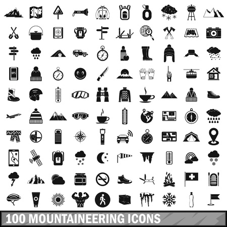 ice tea: 100 mountaineering icons set in simple style for any design vector illustration