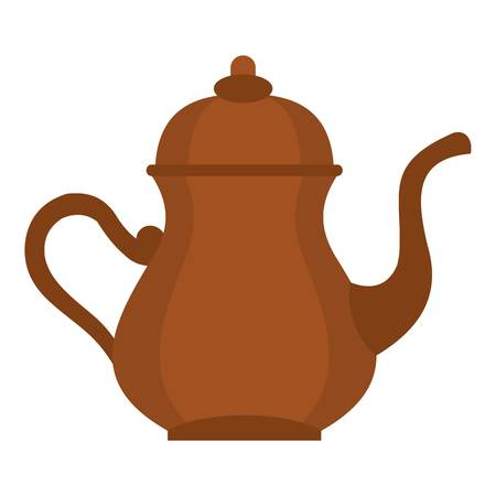 middle eastern food: Oriental turkish kettle for tea icon flat isolated on white background vector illustration