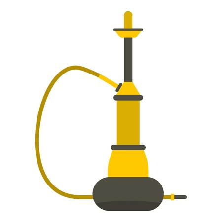 Yellow hookah icon flat isolated on white background vector illustration