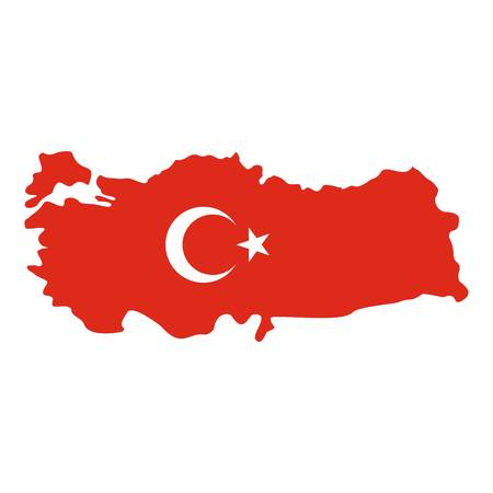 national geographic: Turkey map in national flag colors icon flat isolated on white background vector illustration