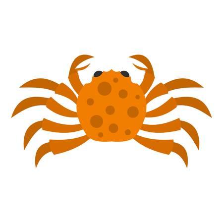 crab legs: Orange crab icon flat isolated on white background vector illustration Illustration