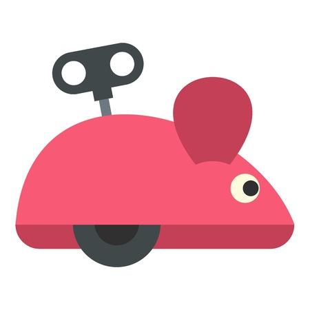 prankster: Clockwork mouse icon flat isolated on white background vector illustration