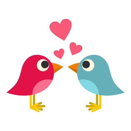 Blue and pink birds with hearts icon flat isolated on white background vector illustration