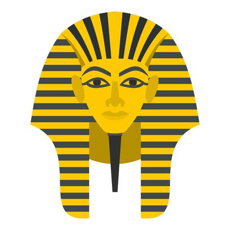 Egyptian golden pharaohs mask icon flat isolated on white background vector illustration