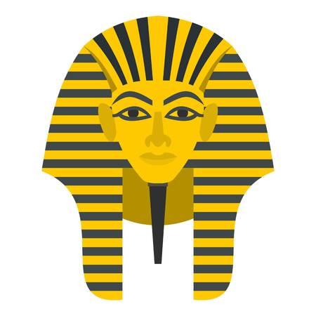 Het Egyptische gouden farao maskeert pictogram vlak geïsoleerd op witte vectorillustratie als achtergrond