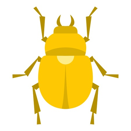 Gold scarab beetle icon flat isolated on white background vector illustration