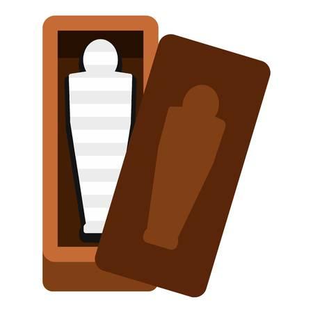 tutankhamen: Sarcophagus of an Egyptian mummy icon flat isolated on white background vector illustration