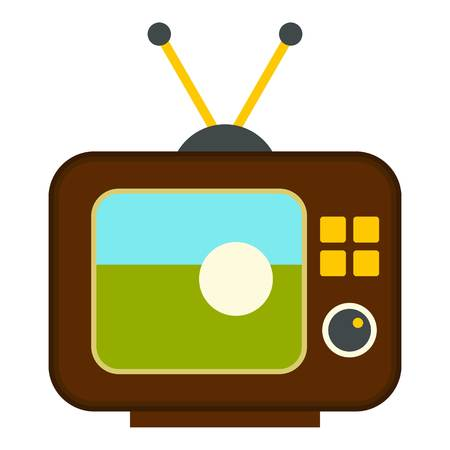 Ball on the screen of retro TV icon flat isolated on white background vector illustration Illustration