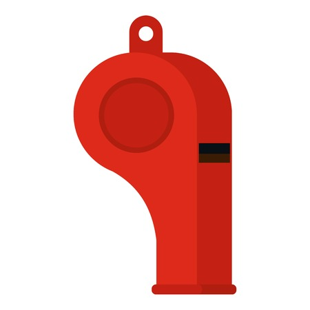 umpire: Red sport whistle icon flat isolated on white background vector illustration