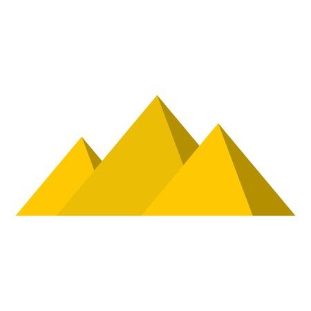 menkaure: Egyptian Giza pyramids icon flat isolated on white background vector illustration