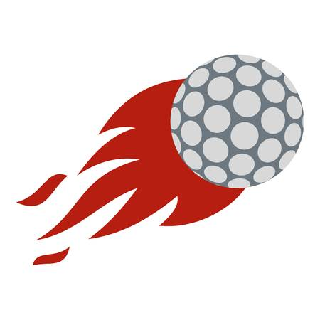 dimple: Flaming golf ball icon flat isolated on white background vector illustration